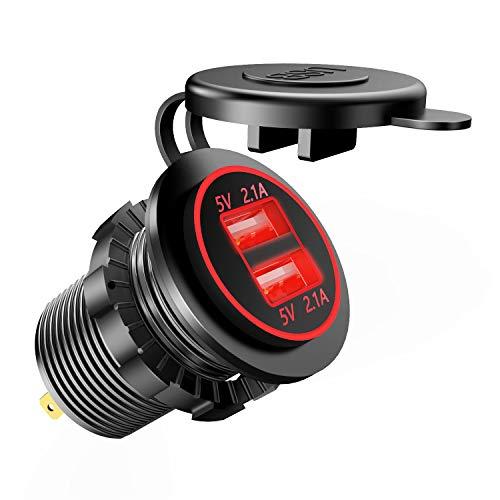 TurnRaise Aggiornamento USB Dual 4.2A Presa Caricatore 12-24 Volt IP66 Impermeabile Presa per Auto Moto Barca (Rosso)