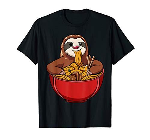 Kawaii Japanische Ramen Nudeln Faultier Tier Familie Lustig T-Shirt