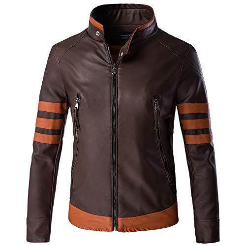 WAMLJ Wolverine Lederjacke Motorrad Leder Plus Size Herren Pu Leder Mäntel Slim Fit Stehkragen,Coffee,2XL