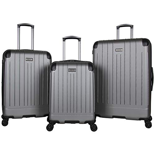Kenneth Cole Reaction Flying Axis Collection Lightweight Hardside Expandable 8-Wheel Spinner Luggage, Silver, 3-Piece Set (20'/24'/28')