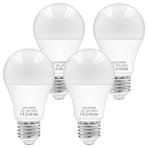 WELLHOME E27 LED Kaltweiss Lampen, 9W Birnen Ersetzt 60W Glühbirne, 5000K Kolbenform Leuchtmittel 800 Lumens Energiesparlampen, 4er-Pack
