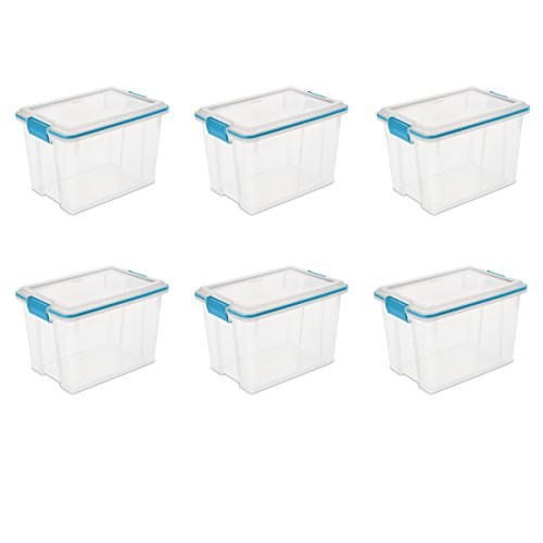 Sterilite 19324306 20 Quart/19 Liter Gasket Box, Clear with Blue Aquarium Latches and Gasket, 6-Pack