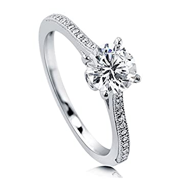 BERRICLE Rhodium Plated Sterling Silver Round Cubic Zirconia CZ Solitaire Promise Wedding Engagement Ring 1.2 CTW Size 9
