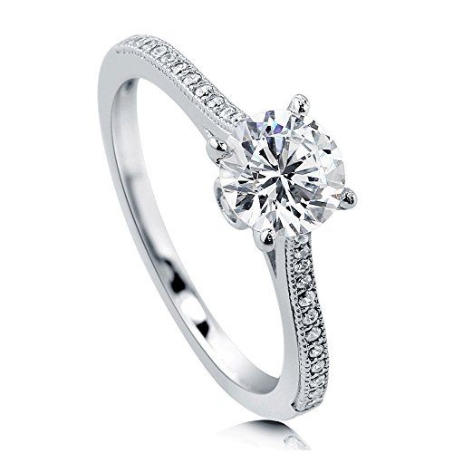 BERRICLE Rhodium Plated Sterling Silver Round Cubic Zirconia CZ Solitaire Promise Wedding Engagement Ring 1.2 CTW Size 4