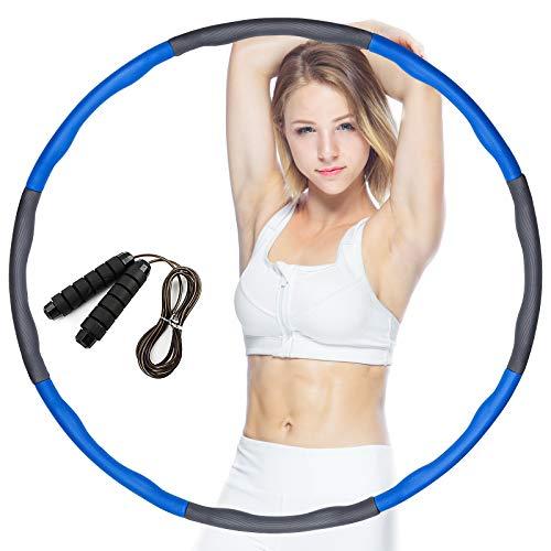 dowowdo Hula Hoop Reifen Fitness, Abnehmbarer Hoola Hup Reifen mit Springseil Massage Hulahupreifen (Blau Grau)