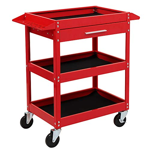 TUFFIOM 3 Tier Rolling Tool Cart, 330 LBS Capacity Industrial Service Cart, Heavy Duty Steel Utility Cart, Tool Organizer with Drawer, Perfect for Garage, Warehouse & Repair Shop (Red)