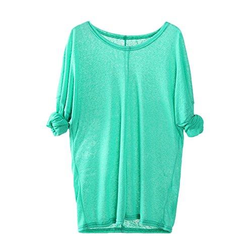 Ashui Damen Langarmshirt Rundhals Leicht V-Ausschnitt Longsleeve T-Shirt Langarm Freizeit Oberteil Elegantes Stretchbar Henley Shirt Basic Tops