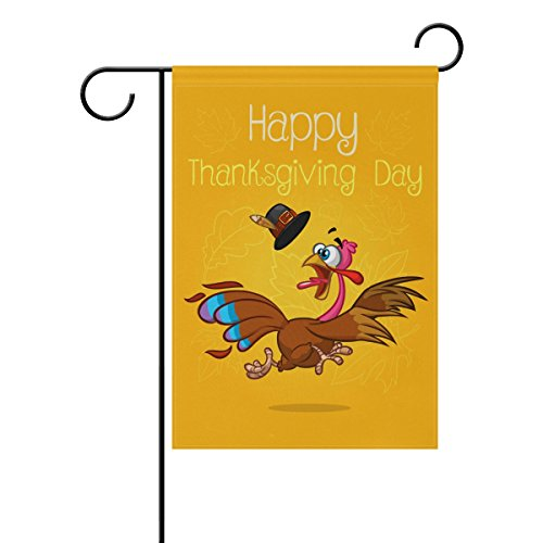 ALAZA Double Sided Happy Funny Turkey Thanksgiving Day Polyester Garden Flag Banner 12 x 18 Inch for Outdoor Home Garden Flower Pot Decor