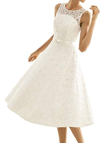 Kurze Brautkleider Spitze Vintage A-Linie Schlichte Hochzeitskleider Standesamt Wadenlang Cocktailkleider Partykleider Elfenbein 42