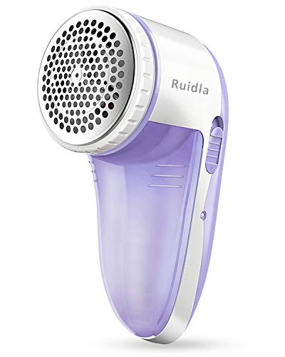 Ruidla Fabric Shaver Defuzzer, Electric Lint Remover, Rechargeable Sweater Shaver with Replaceable Stainless Steel 3-Leaf Blades, Dual Protection, Removable Bin, Easy Remove Fuzz, Lint, Pills, Bobbles