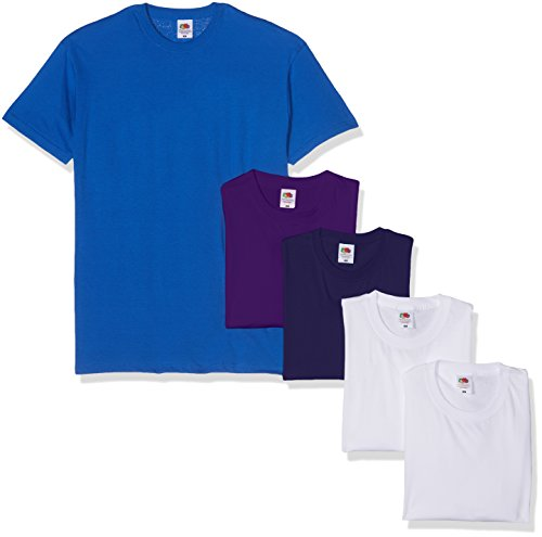 Fruit of the Loom Valueweight Short Sleeve Camiseta, Blanco/Azul Marino/Morado/Royal, XL (Pack de 5) para Hombre
