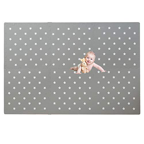 "Baby Play mat Extra Large Baby Foam Floor Mat Grey and White Design Non-Toxic Baby Playmat Tiles Soft Waterproof and Thick (0.5""Thickness) Foam Mat Designed for Babies and Toddlers – 6 x 4 ft"