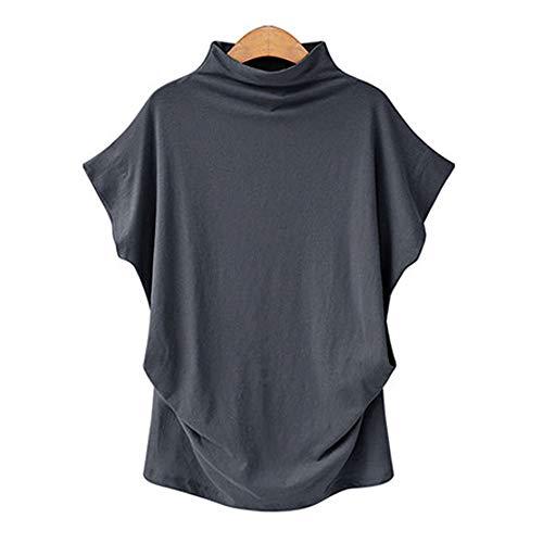 TLLW Damen Plus-Größe, Rollkragen-Top, Fledermausärmel, Kurzarm-T-Shirt, Frauen, S-5XL Kurzarm-T-Shirt Damen Baggy Top 14-20 Gr. X-Large, dunkelgrau