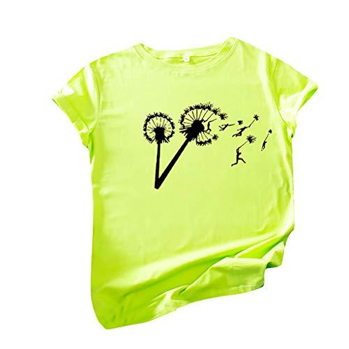 SHE.White Große Größe T-Shirts Damen Löwenzahn Grafik Druck Vintage Shirt Sommer Kurzarm Rundhals Tee Tops Funny Graphic T-Shirt Oberteile Bluse S-5XL