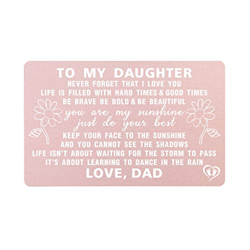 Wallet Card Daughter Gifts From Dad, Engraved You Are My Sunshine To My Daughter, Christmas Gifts from Daddy Fathers Day Present