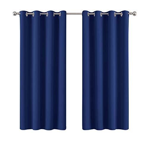 PONY DANCE Gardinen Verdunklung Ösenschal - Gardinen Blickdicht Kinder Vorhänge Schlafzimmer Thermo Vorhang Wärmeisolierend, 1 Paar H 158 x B 132 cm, Blau