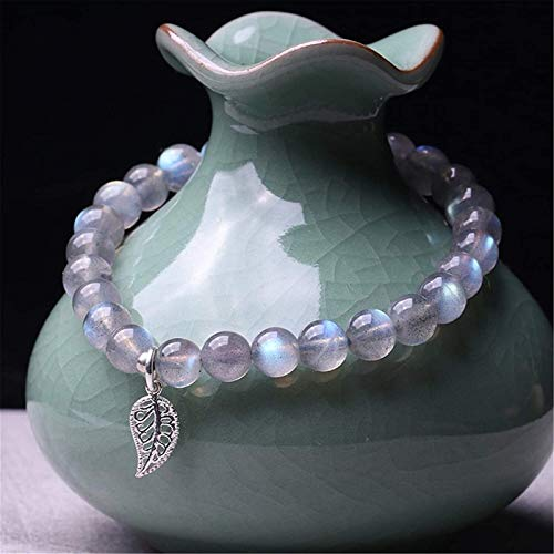 KEEBON Natural Moonstone Bead Bracelet Chakra Healing Crystal Stretch Bracelet 925 Silver Lucky Charms Attract Good Luck Wealth Love Bangle Gift for Women/Men
