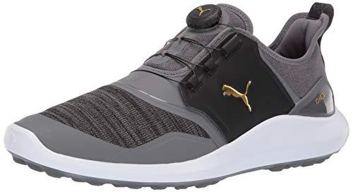 Puma Golf Men's Ignite Nxt Disc Golf Shoe, Quiet Shade-Puma Team Gold-Puma Black, 11 M US