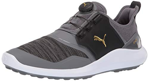 Puma Golf Men's Ignite Nxt Disc Golf Shoe, Quiet Shade-Puma Team Gold-Puma Black, 12 M US