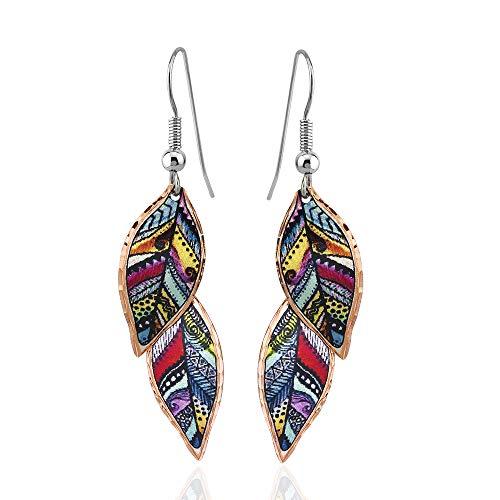 Pendientes de plumas para mujer y niña, dos tonos y tres tonos, pendientes de hoja en acuarela hechos a mano, cobre, inspirados en la naturaleza