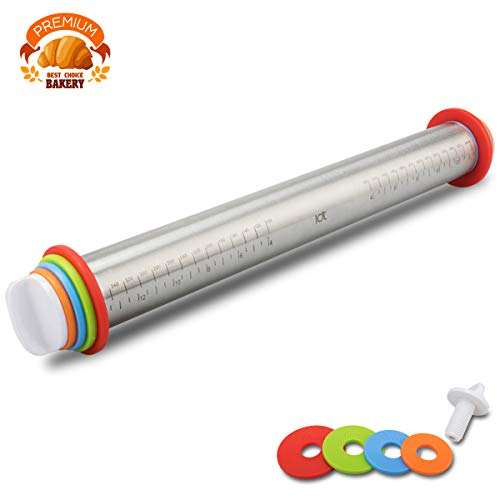 S4 Rolling Pin Spacers French Rolling Pins for Baking Adjustable Rolling Pin with Thickness Rings Dough Roller for Cookie Pastry Pizza