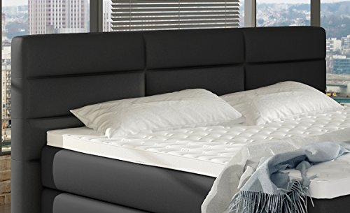XXL ROMA Boxspringbett mit Bettkasten Designer Boxspring Bett LED Nachtschwarz Rechteck Design (Nachtschwarz, 180x200cm) - 6