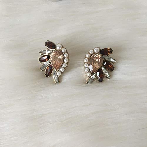 Empty Pendientes Color Dorado Piedra marrón con Perlas Pendientes para Mujer Pendientes para niña Joyas