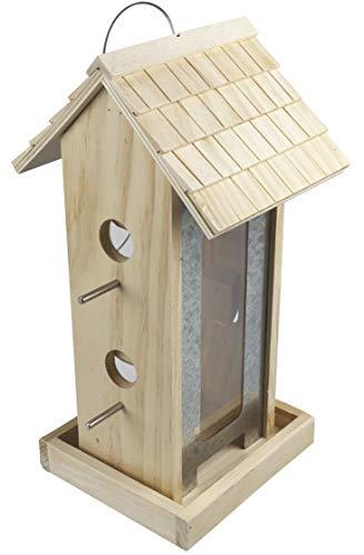 Windhager Vogelfuttersilo Country,Vogelfuttersilo, Vogelhaus, Futterspender für Vögel, Vogelhäuschen aus Massivholz, inklusive Befestigungsseil aus Stahl, 07013