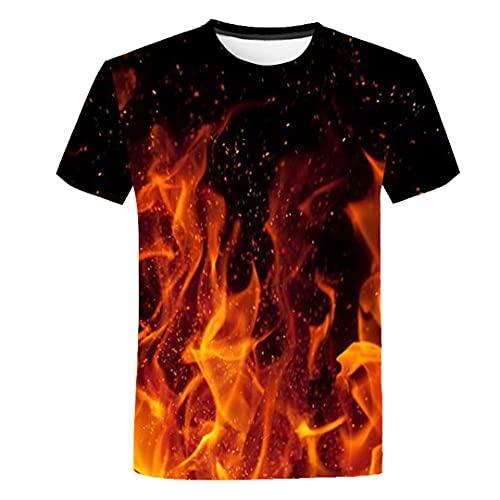 SHOULIEER T-Shirt Blue Flaming Tshirt Ragazzi T-Shirt 3D T-Shirt Nera Tee Casual Top Tx-585 10t