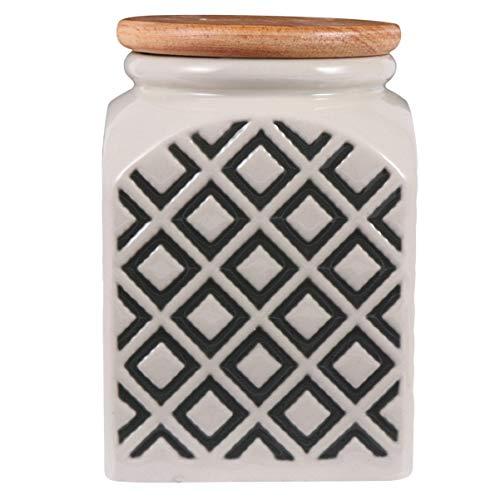 UPKOCH Keramik Versiegelte Vorratsbehälter Getreidebehälter Glas Küche Luftdicht Lebensmittelglas mit Holzdeckel für Tee Kaffeebohne (Grün)