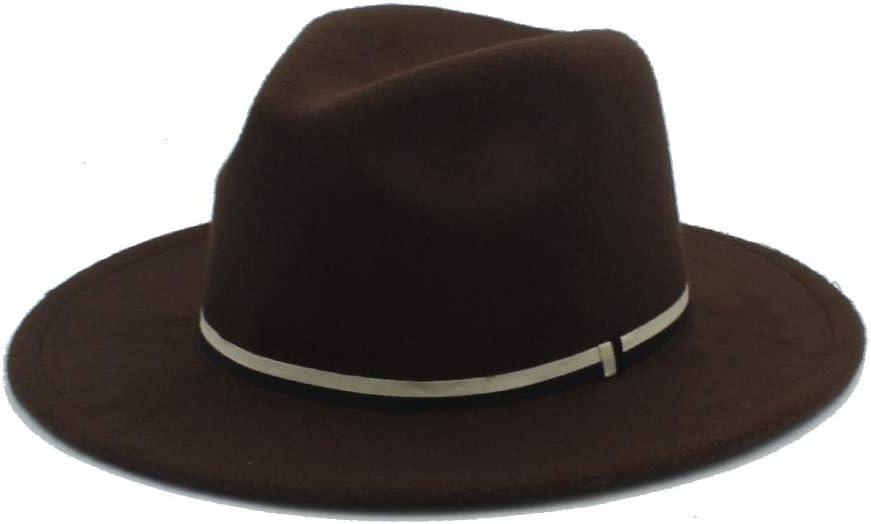 No-branded Men Women Winter Fedora Hat Panama Church Fascinator Jazz Hat Casual Wild Hat Size 56-58CM Fashion ZRZZUS (Color : Coffee, Size : 56-58)