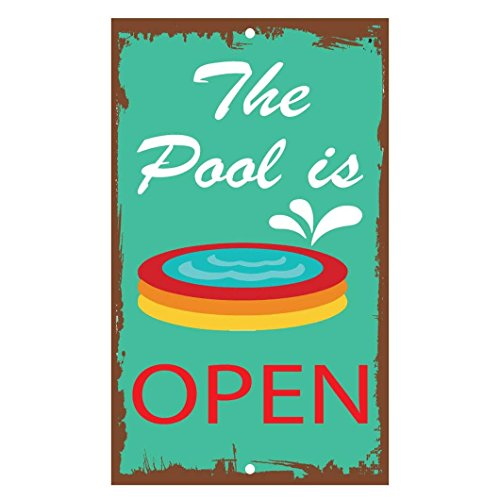 Monsety Dekoschild The Pool is Open Aluminium Metallschild Hofzaun Schild Geschenk