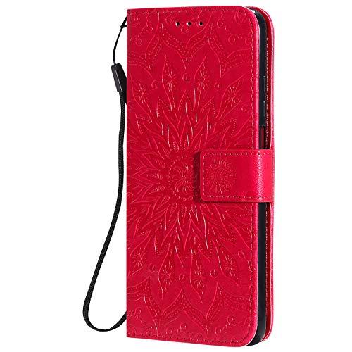 KKEIKO Hülle für Xiaomi Redmi K30, PU Leder Brieftasche Schutzhülle Klapphülle, Sun Blumen Design Stoßfest Handyhülle für Xiaomi Redmi K30 - Rot