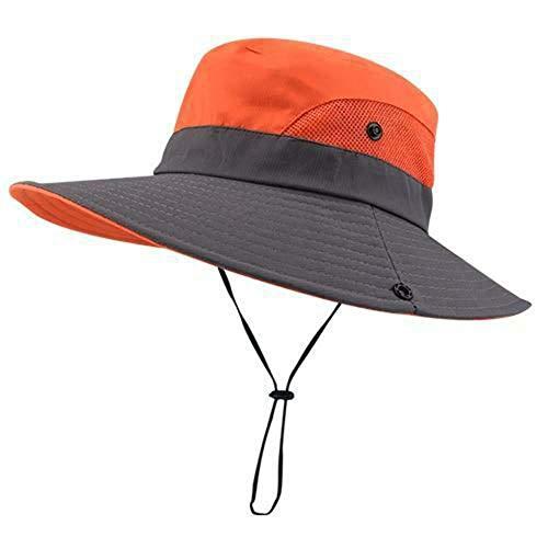 Women's Ponytail Safari Sun Hat Wide Brim UV Protection Foldable Outdoor Cap Orange