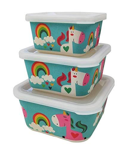 Boîte Alimentaire Bambou Enfants ♻ 3 Boîtes de Conservation Alimentaire en Fibre de Bambou - Lunch Box Eco, Bio, Recyclable, sans BPA - Set Boîte à Lunch Empilables - Va au Lave-Vaisselle - Idéal Bébé