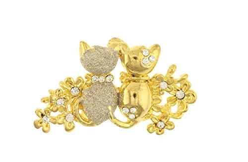 behave Mujer Broche con Flores y pedrería de Gatos y Flores Hecho de Metal - Color Dorado - 4cm tamaño