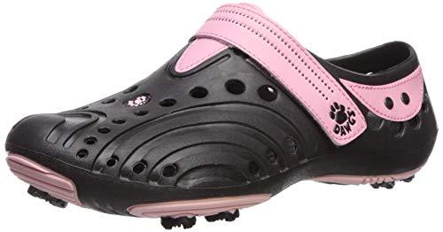 DAWGS Women's Golf Spirit Walking Shoe,Black/Soft Pink,5 M US