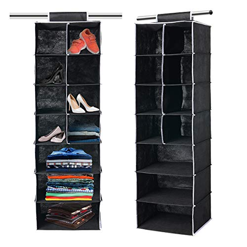 Hanging Wardrobe Storage, 7 Shelves Hanging Wardrobe Storage Organiser for Sweaters, Shoes, Clothes Hanging Closet Organizer Set- Beige