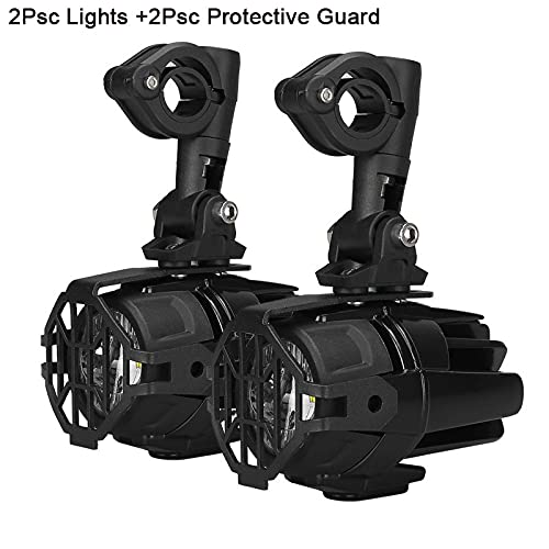 GSDGBDFE 2pcs LED LED Poder Auxiliar LED LUZ Ajuste para Motocicleta BMW R1200GS F800GS (Color : Light with Guards)