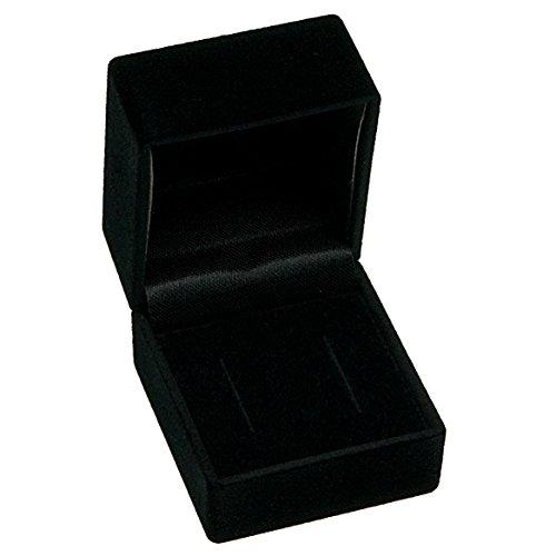 EYS JEWELRY Schmuck-Etui für Ohrstecker 47 x 43 x 39 mm Samt schwarz Ohrring-Box Schachtel Schatulle Geschenk-Verpackung