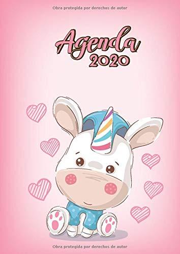 Agenda 2020: Tema Unicornios Rosado Agenda Mensual y Semanal + Organizador Diario I Planificador Semana Vista A4