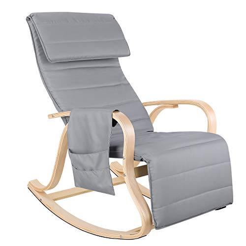 Homfa Birkenholz Schaukelstuhl Relaxstuhl mit 5-Fach verstellbareres Fußstütze Belastbarkeit 150 KG Sessel Grau für Wohnzimmer 65x86x100cm