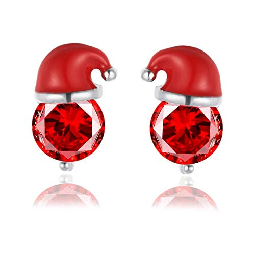 LILITRADE 1 par de pendientes de Navidad de alta calidad, diseño de Papá Noel con diamantes de imitación, regalo para mujeres y niños