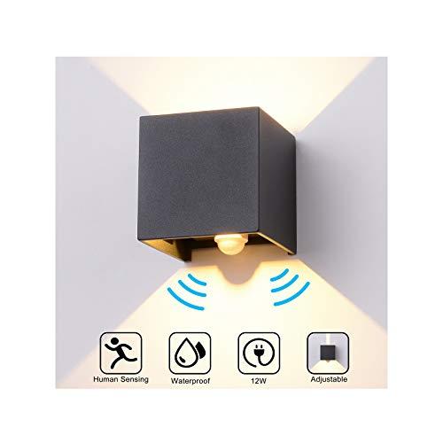 INHDBOX 12W Wandleuchte Wandleuchte mit Bewegungsmelder, LED Wandleuchte Innen/Außen Wasserdicht Verstellbare Aussenlampe, Wandleuchte Sensor für Garten/Flur/Weg Veranda -Warmweiß (Anthrazit)