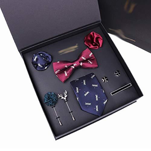ZZABC MSLDXTPJ Hombre Corbata pañuelo puño-Link Corbata Bowtie Broche 8pcs Conjunto de Corbatas Traje para Masculino Bolsillo Cuadrado pañuelo de Moda Caja de Regalo (Color : B)
