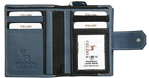 Felda - Cartera para Mujer con protección RFID - para móvil, Tarjetas y Billetes - Cuero auténtico - Negro