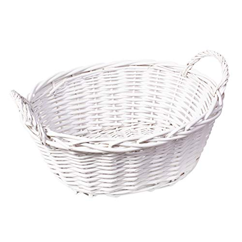 woodluv Hand Made Wicker Oval Storage Gift Hamper Basket With Handles, White 33 x 13 x 13cm