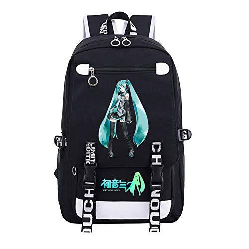 GFDSH Rucksack Anime Damen schwarz reiseschule Jugendliche Schulrucksack 3D Anime Print Hatsune futuristischer Canvas Rucksack Rucksack