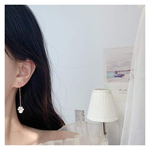 KGDC Pendientes Linda Garra Garra Perla Natural 14k Pendientes de Oro Pendientes de niña Larga oído Variedad de Opciones Aretes para Mujeres (Color : G)