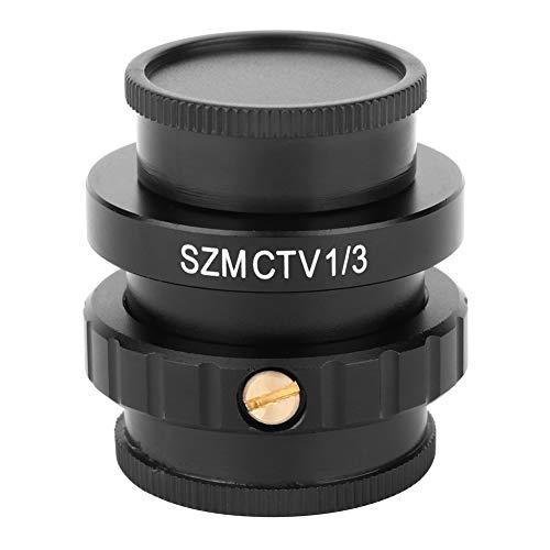 Adaptador SZMCTV 1/3 Adaptador de lente de montaje en C para cámara de video de microscopio estéreo trinocular, interfaz C estándar, pantalla de visualización con aumento adicional de 3 veces